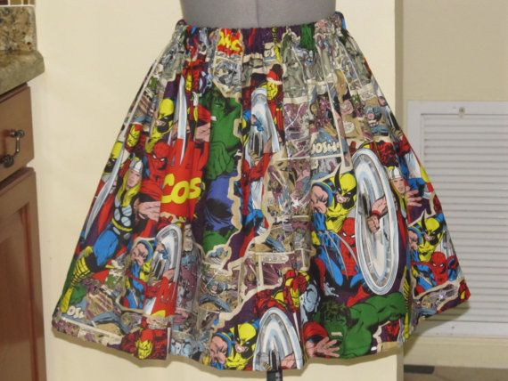 Womens Marvel Skirt Full Gathered Skirt Full by ApronsByVittoria, $41.00
