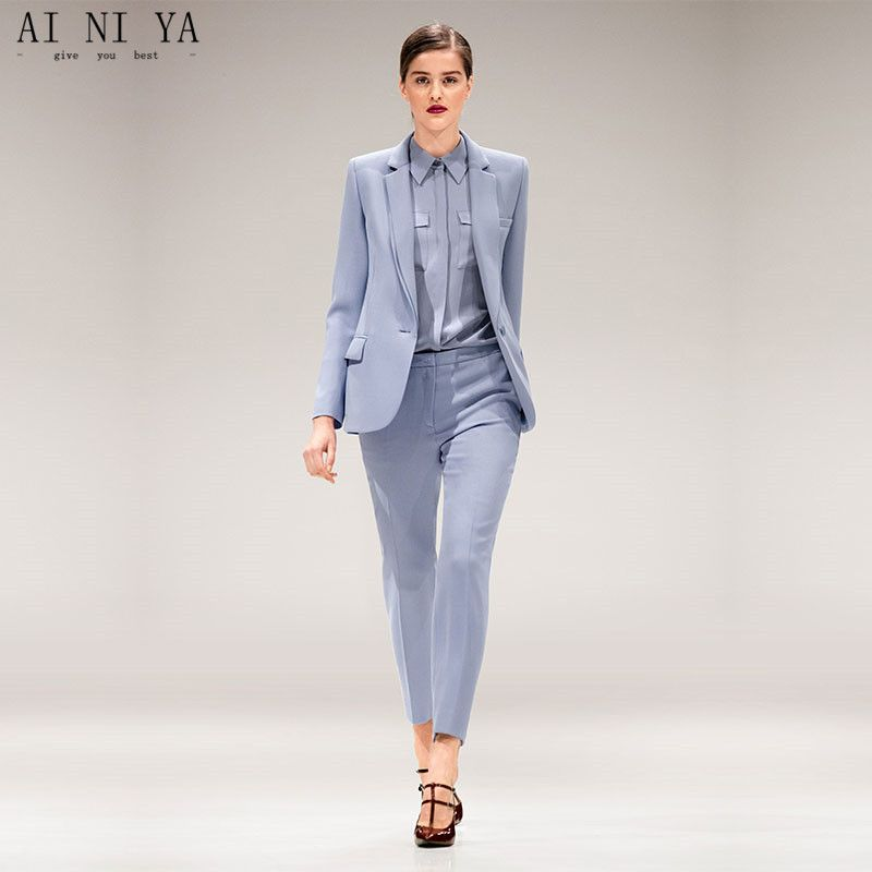 Find More Pant Suits Information about Jacket+Pants Light Blue Womens  Business Suits Female Office Uniform Single Breasted Ladies Winter Formal  Trouser ... f3b5ebb374cc