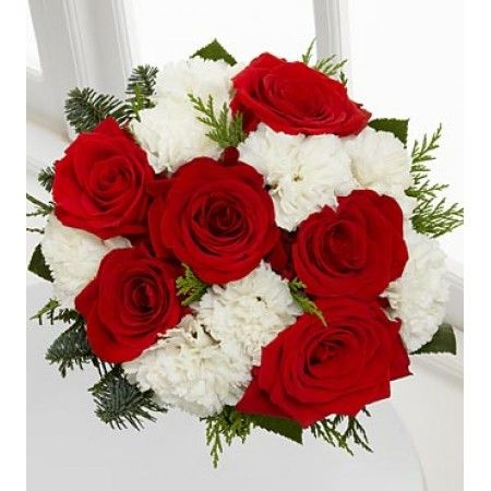 The Peace Love Laughter Holiday Bouquet Is A Shining Display Of Your Warmest Season S Gree Flower Bouquet Delivery White Carnation Bouquet Carnation Bouquet