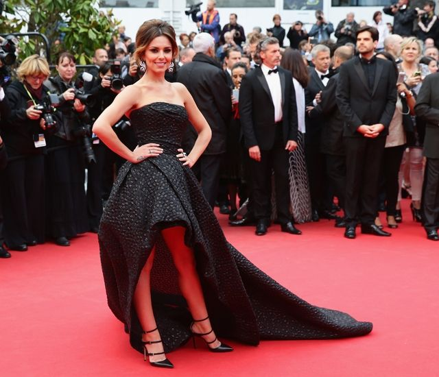 Cheryl Cole wears Monique Lhullier to the Cannes red carpet.