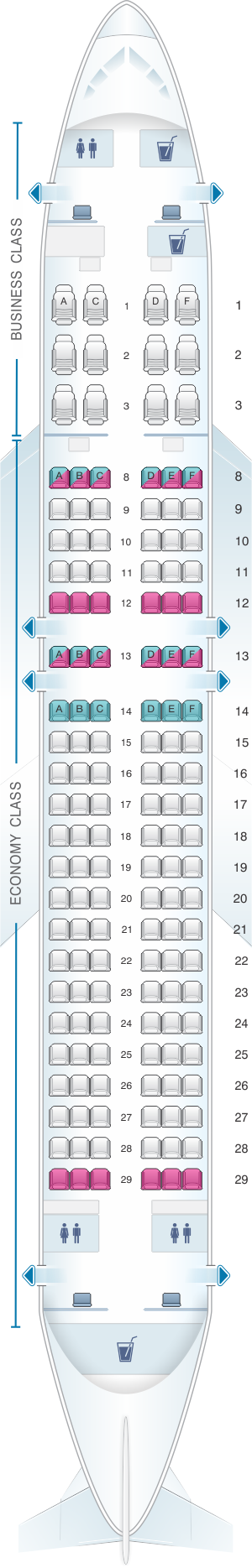 Seat Map Qatar Airways Airbus A320 200 144pax Map, Qatar