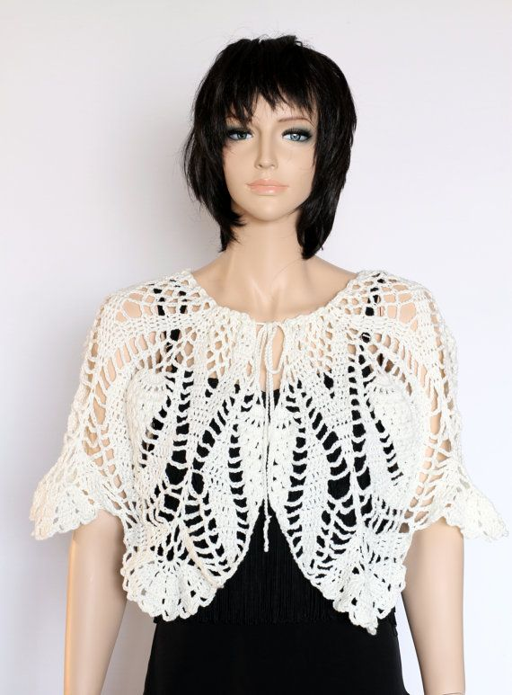 Ivory Capelet Crocheted Shawl Off-White Shawl Crocheted Capelet ...