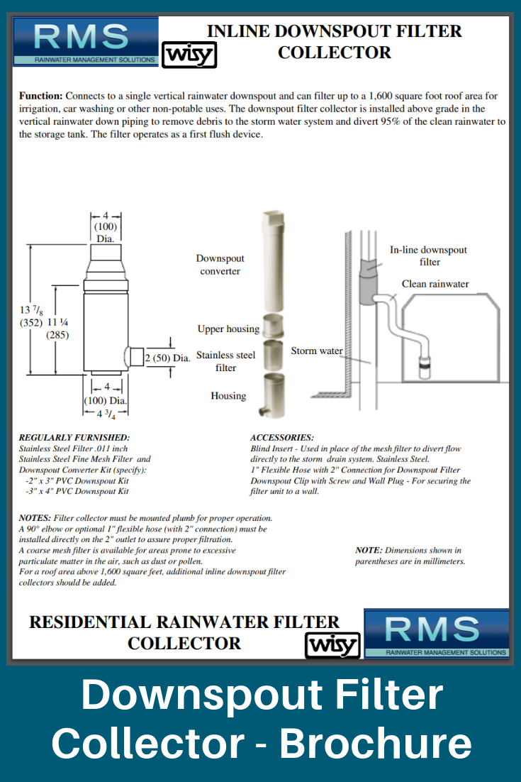 Residential Rainwater Filter Collector Downspout Filters Rainwater Harvesting