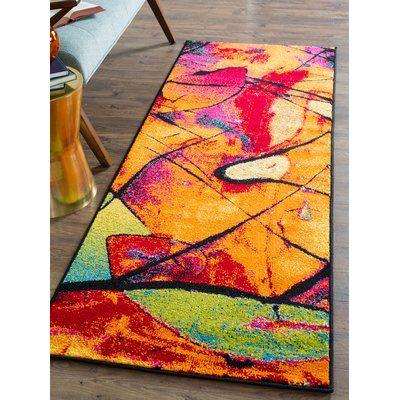 Latitude Run Weisinger Orange Blue Area Rug Rug Size 2 7 X 7 3 Abstract Runner Rug Rug Runner Rugs
