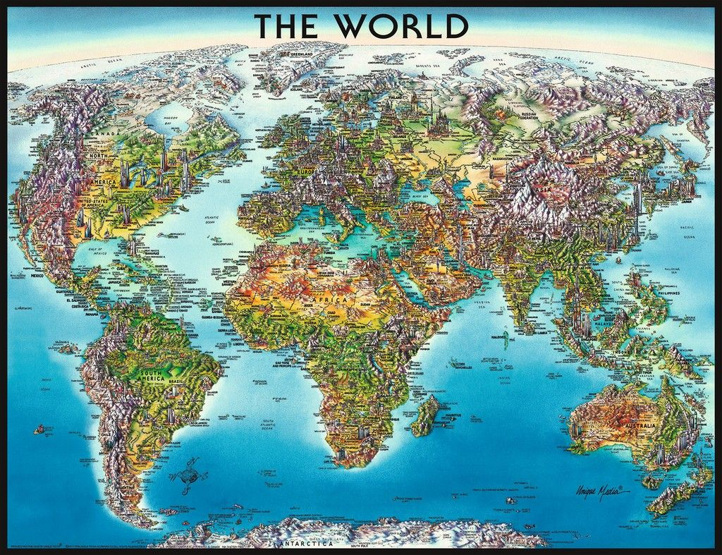 World Map 2000pc Jigsaw Puzzle By Ravensburger Illustrated Map Pictorial Maps Unique Maps