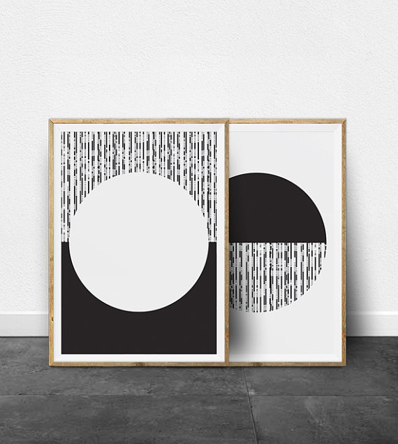 Scandi Print Set Minimalist Wall Art Digital Modern Geometric