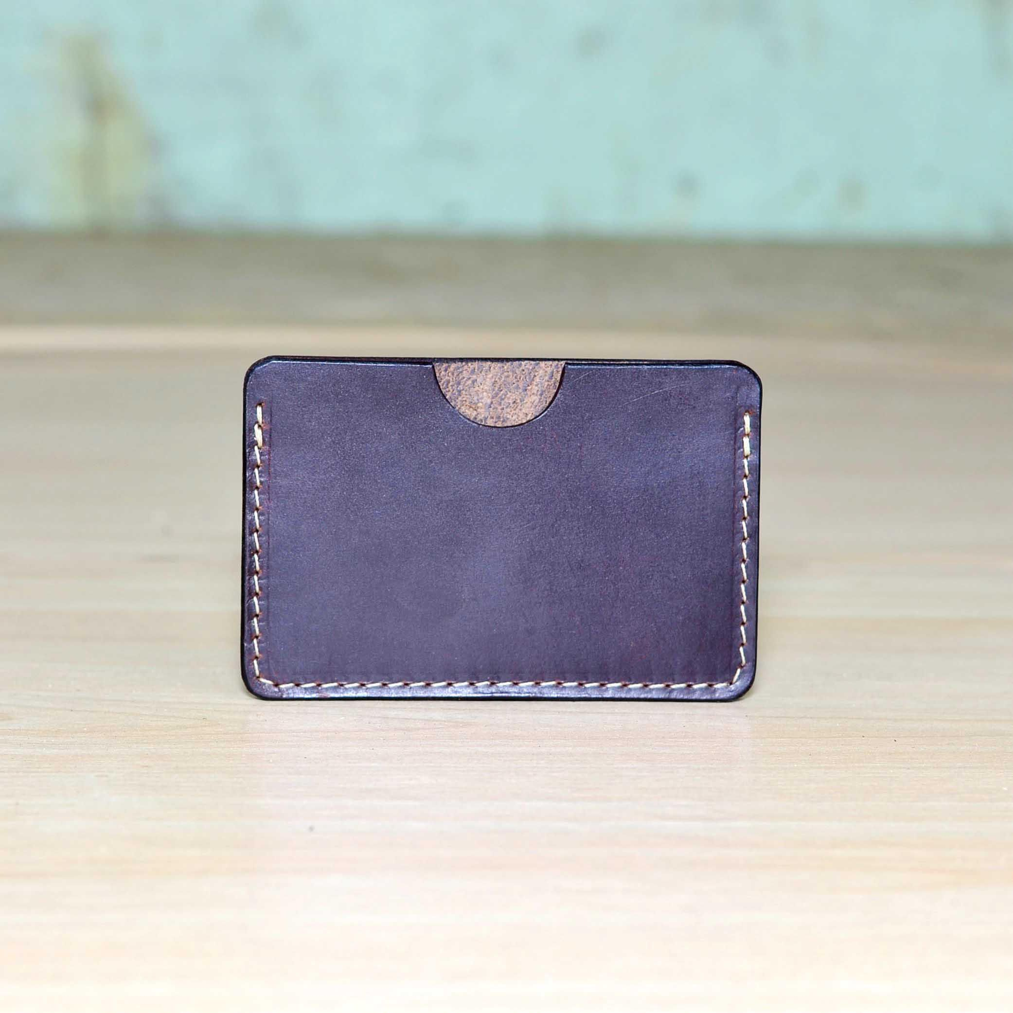 Horizontal Leather Business Card Holder, Personalized Leather ...