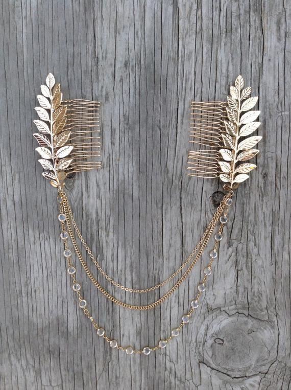 Hair Chain Boho Head Crown Chain And Leaves Hair Comb   Etsy