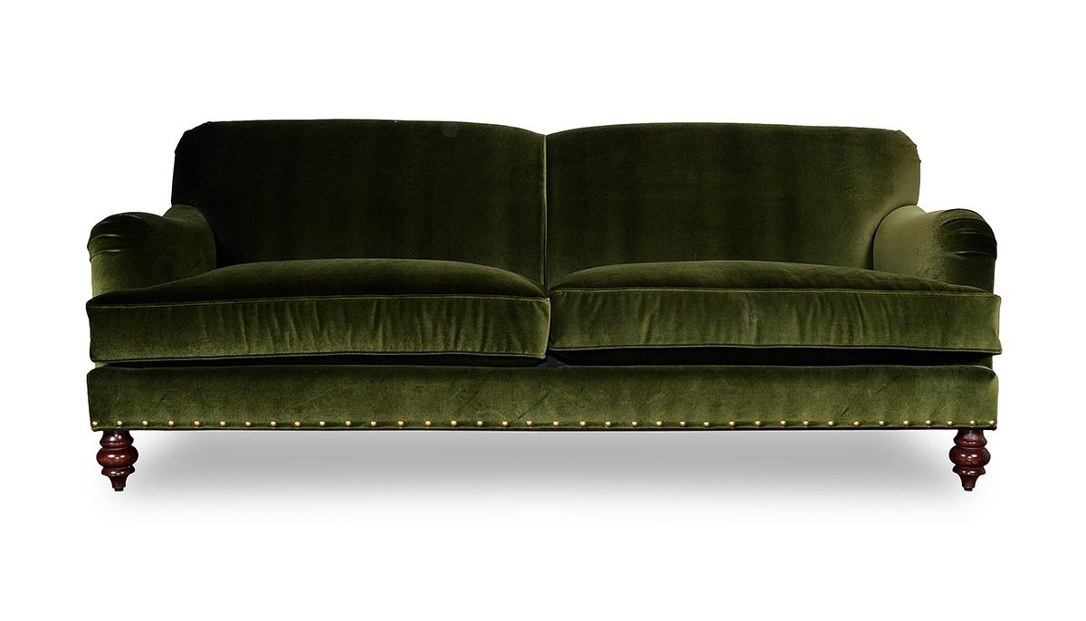 Basel Tight Back English Roll Arm Sofa In Moss Green Velvet With