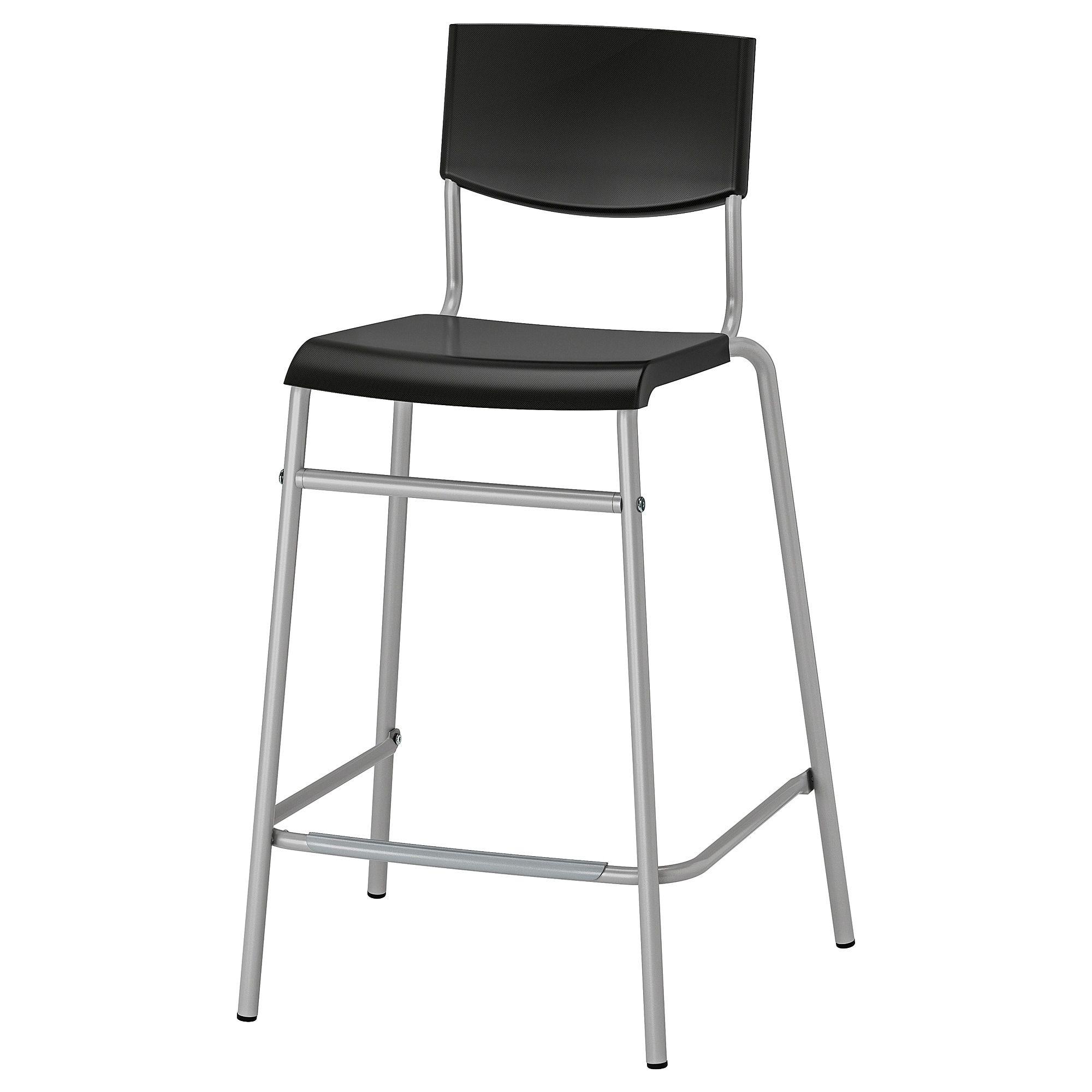 Stig Bar Stool With Backrest Black Silver Color 24 3 4 Ikea Bar Stools Modern Bar Stools Kitchen Kitchen Bar Stools