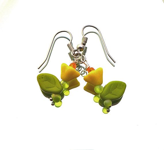 SALE flower earrings opaque yellow flowers opaque door deBATjes