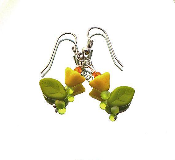 SALE flower earrings opaque yellow flowers opaque door deBATjes