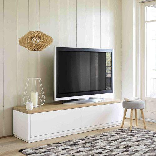 Meuble Tv En Chene Massif Blanc L 180 Cm Meuble Tv Pinterest