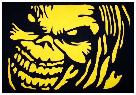 Iron Maiden Stencil Art Yellow Black Stencil Art Stencil