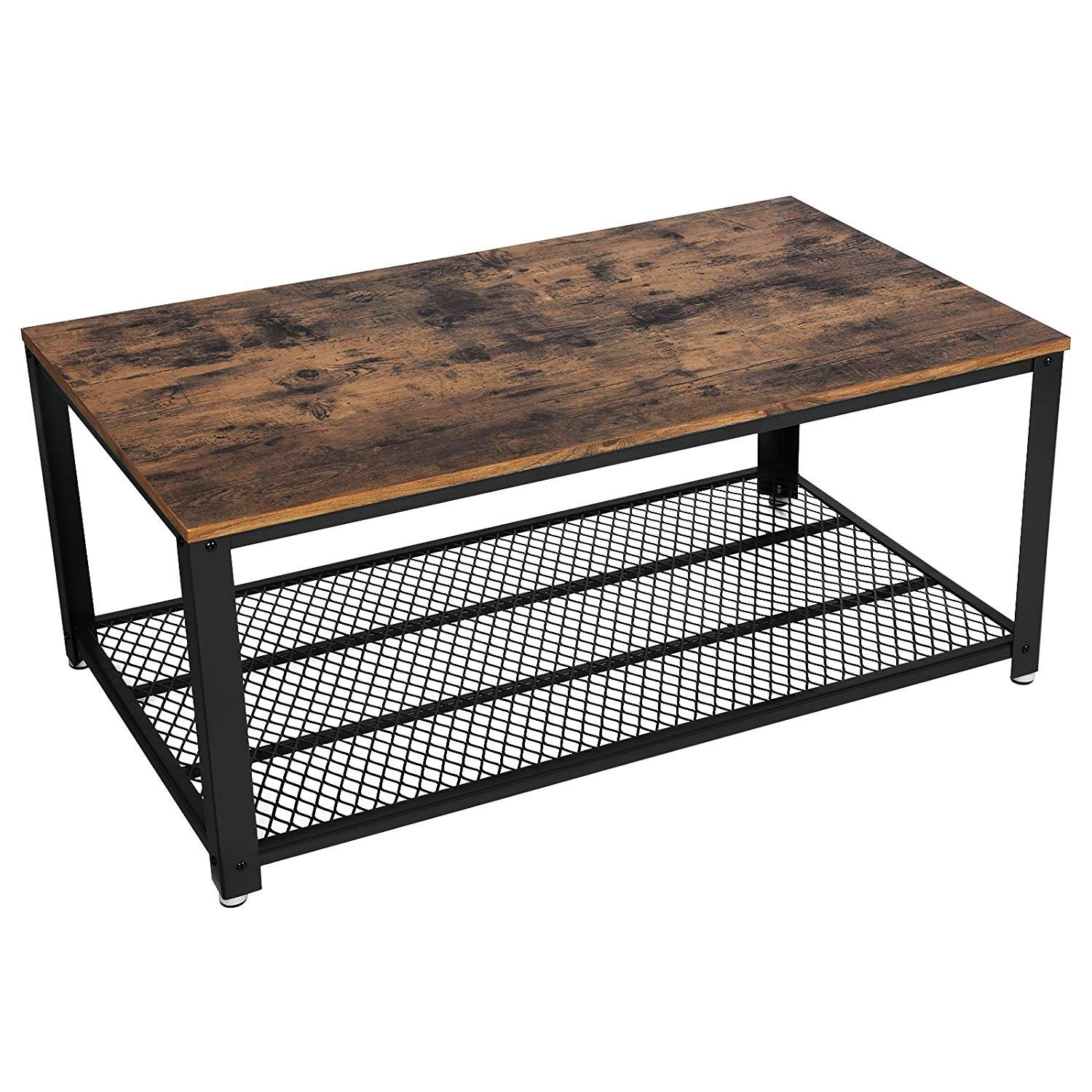 Songmics Vintage Coffee Table Cocktail Table With Storage Shelf For Living Room Wood Look Antique Coffee Tables Coffee Table Metal Frame Coffee Table Vintage