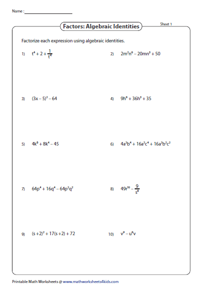 Algebraic Identities Substitution Method Factoring Polynomials Pre Algebra Worksheets Printable Math Worksheets