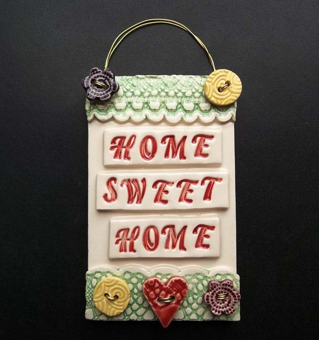 Ceramic Home Sweet Home button wall plaque