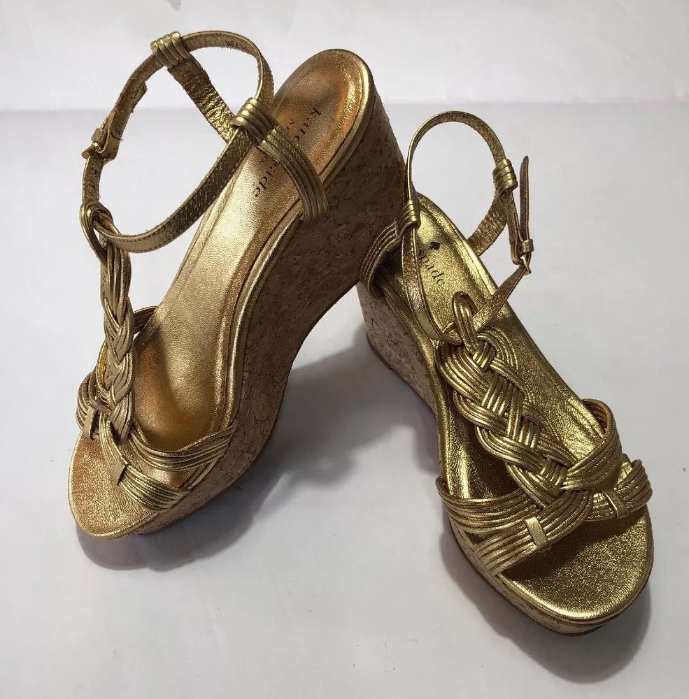 ad335f8c1979 Kate Spade Women 7M Old Gold Metallic Napa Becca Wedge  fashion  clothing   shoes  accessories  womensshoes  heels (ebay link)