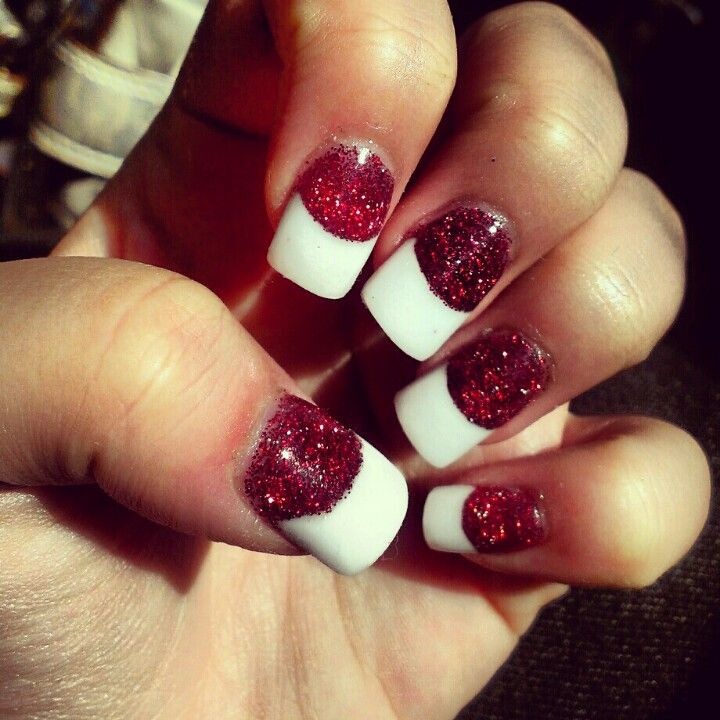 Christmas Nail Designs With White Tips: Red Glitters With White Tip Acrylic #Christmas #holiday