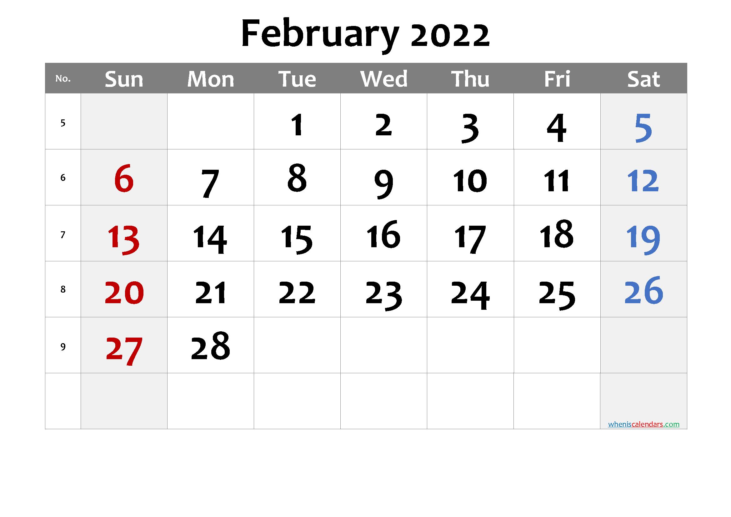 Printable Calendar February 2022 - 6 Templates in 2020 ...