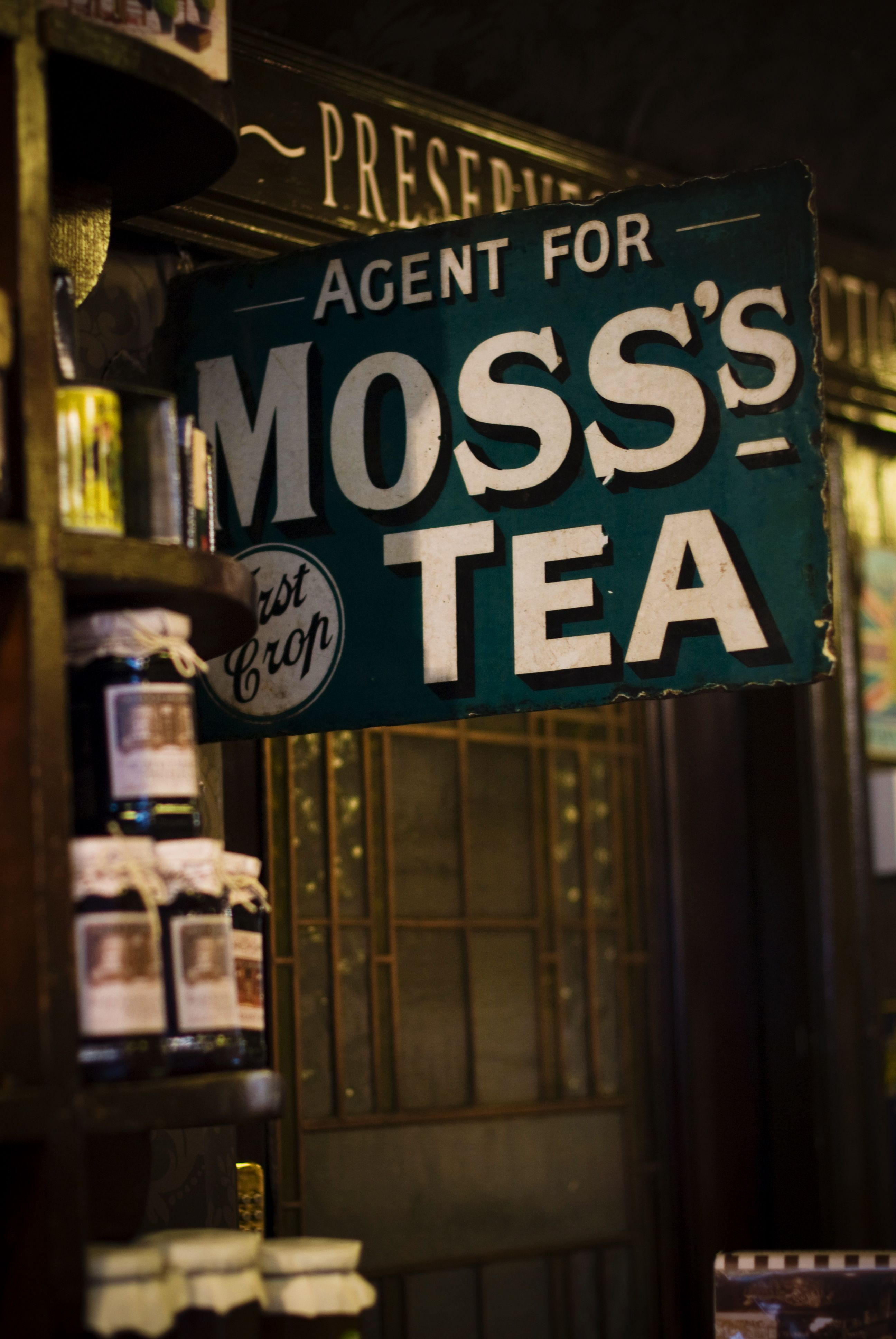 Vintage signage in Rose & Co. Apothecary, Haworth.  www.roseandcompany.com