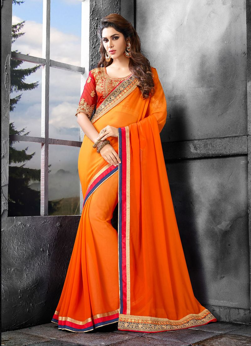 Royal Orange Embroidered Work Bamber Georgette  Designer Saree