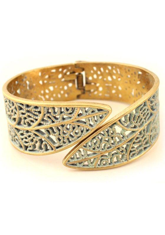 Fashion Hollow-out Golden Bangle Bracelet.