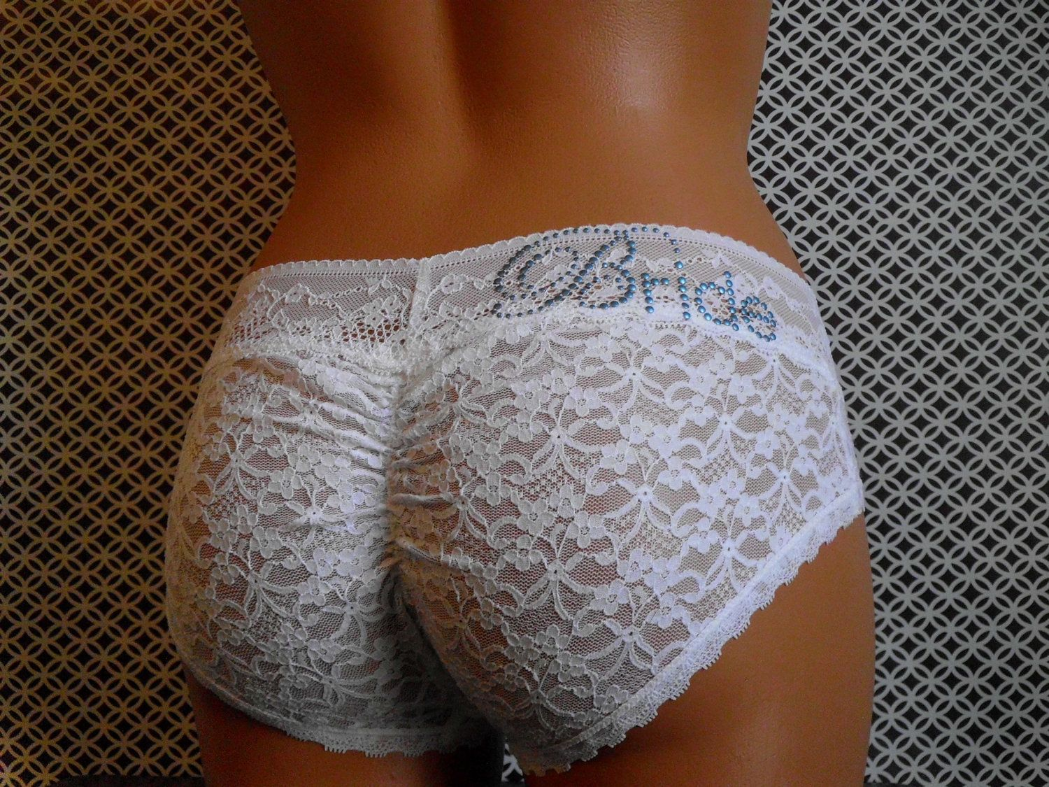 65b28d0a07c8 WHITE Ruched Booty Cheeky Panties w/ Something Blue - Customized ...