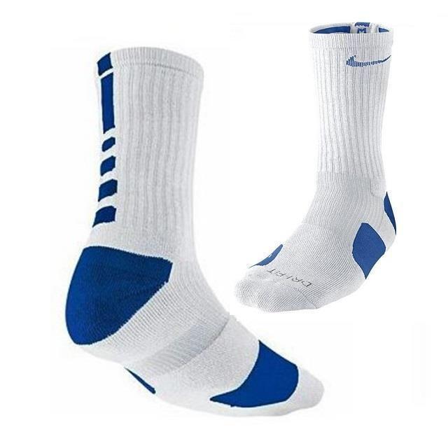 5961d902b Nike Mens 8-12 Elite DriFIT Basketball White Royal Blue Crew Socks  SX3629-143 #Nike #Athletic