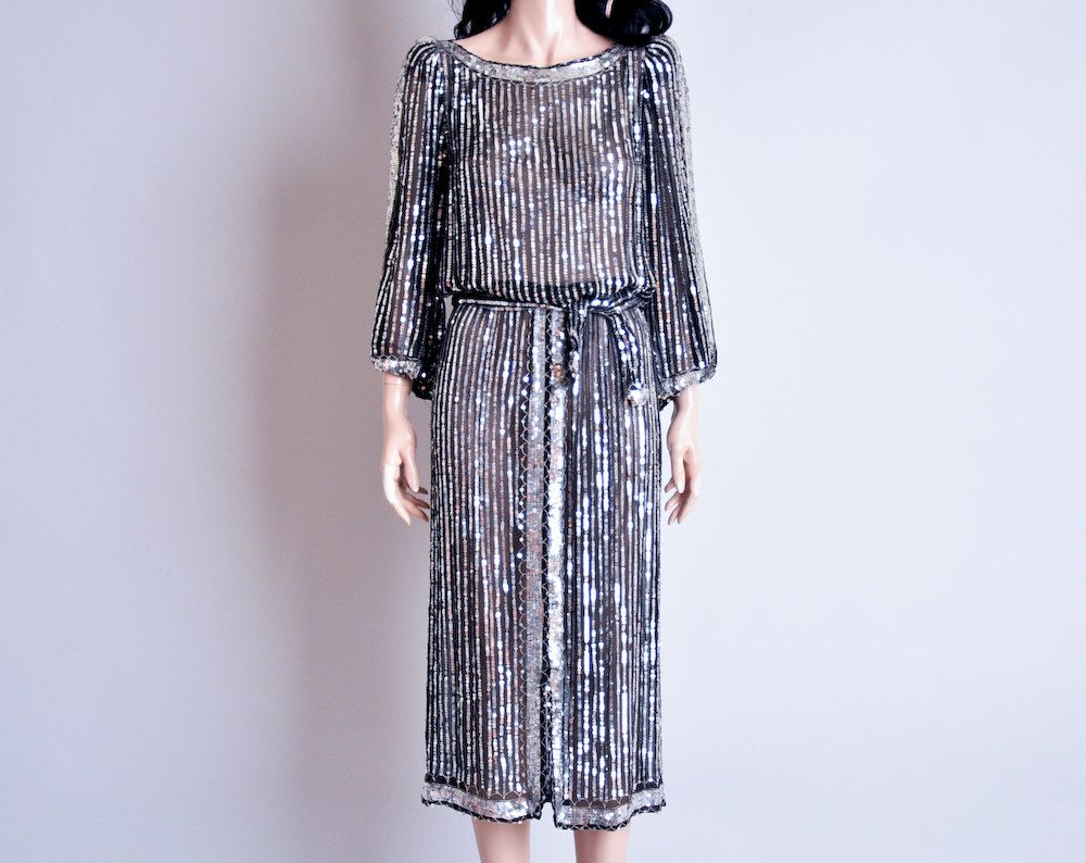 RESERVED sheer silver sequin tea dress / art deco / saks fifth avenue / s. $265.00, via Etsy.