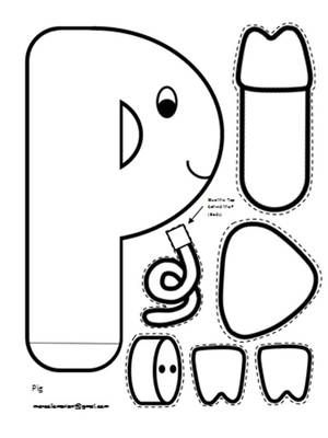 Letter P Art Activity Template- P is for Pig Art Template