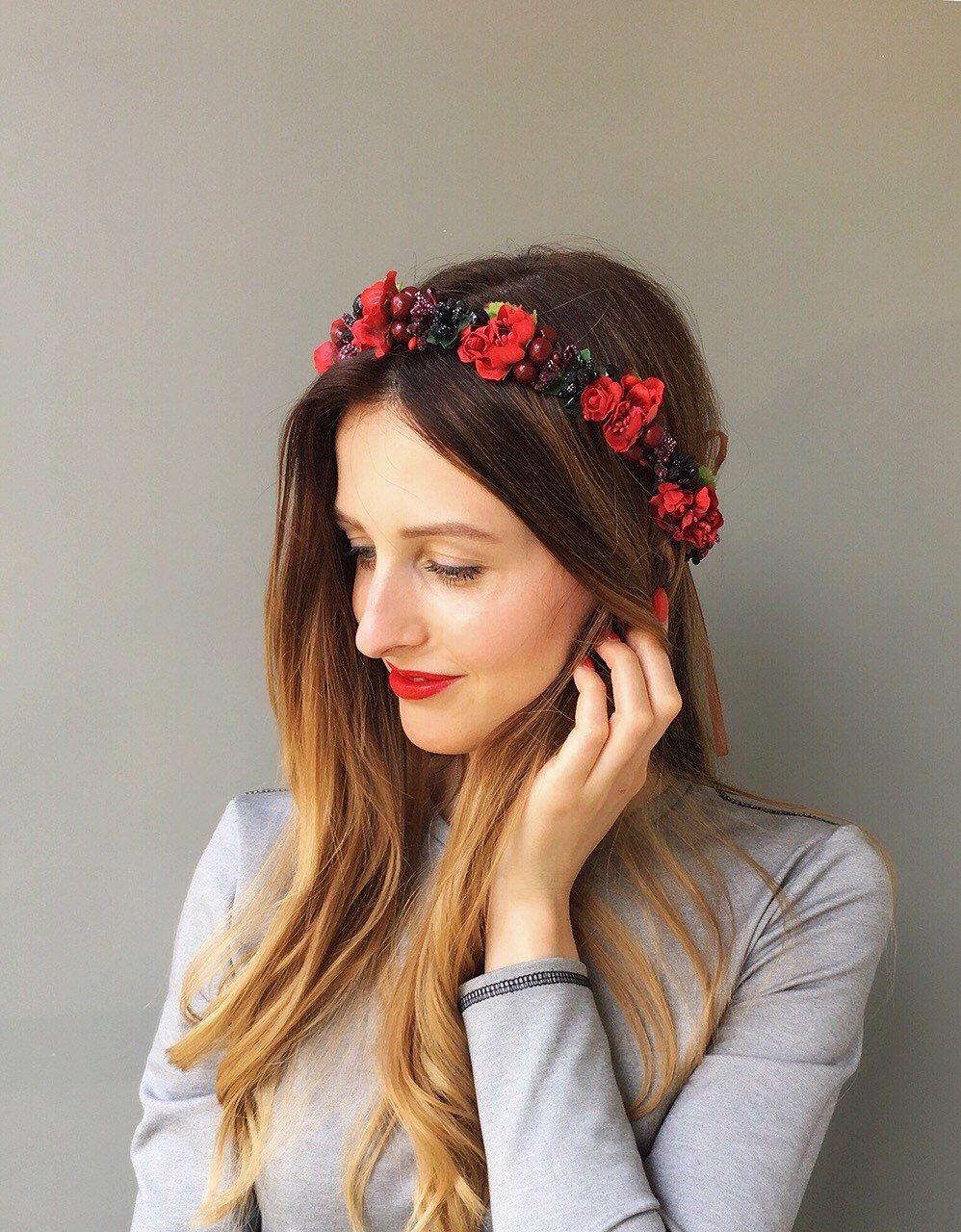 Red Flower Crown Wedding Floral Crown Wedding Headband Flower