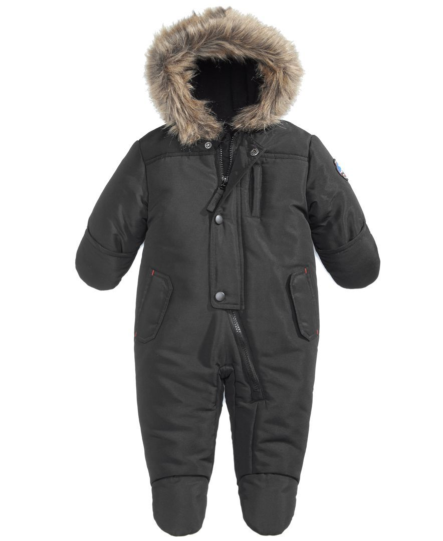 S. Rothschild Hooded Parka Footed Pram With Faux Fur Trim