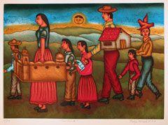 La Visita, Haciendo Camino  Felipe Morales (Oaxaca, Mexico),  Aquatint, (14 1/2 x 18), #P/T, 2000