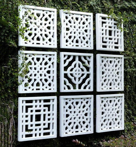 Square Off Bring Wall Art Outside For A Breath Of Fresh Air Hang These Geometric Fretwork Panels For Diy Garden Fence Garden Wall Decor Outdoor Wall Decor