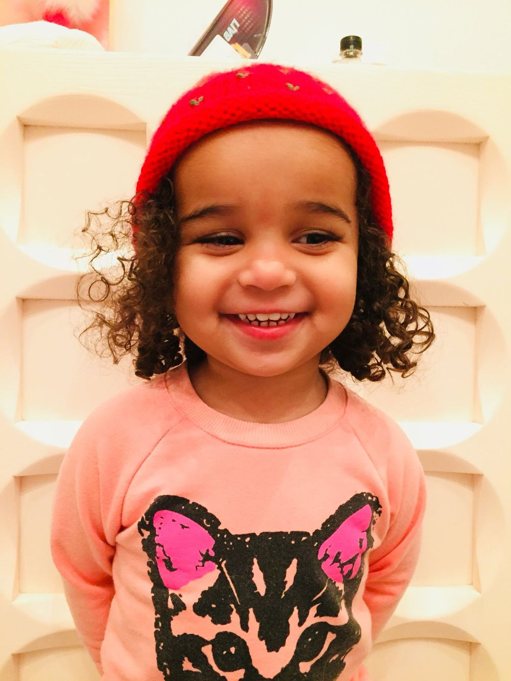 ba88e3a8305a3 Dream looks all grown up in her adorable red beanie!(Courtesy of Twitter)  -- HollywoodLife
