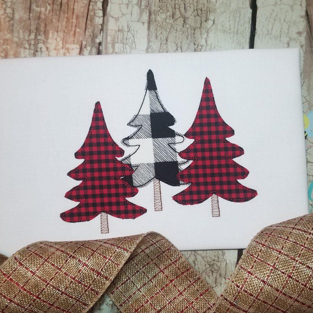 Woodland Tree Machine Applique Design For Christmas Christmas Machine Applique Designs Christmas Applique Christmas Applique Patterns