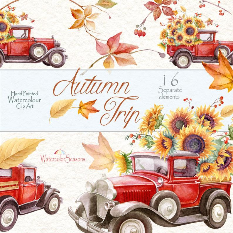 Red Truck with Sunflowers Autumn Watercolor Hand painted ...