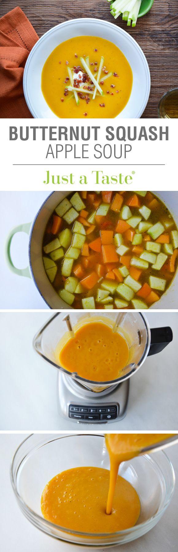 Butternut Squash Apple Soup recipe via justataste.com | A creamy, yet cream-less quick and easy soup!