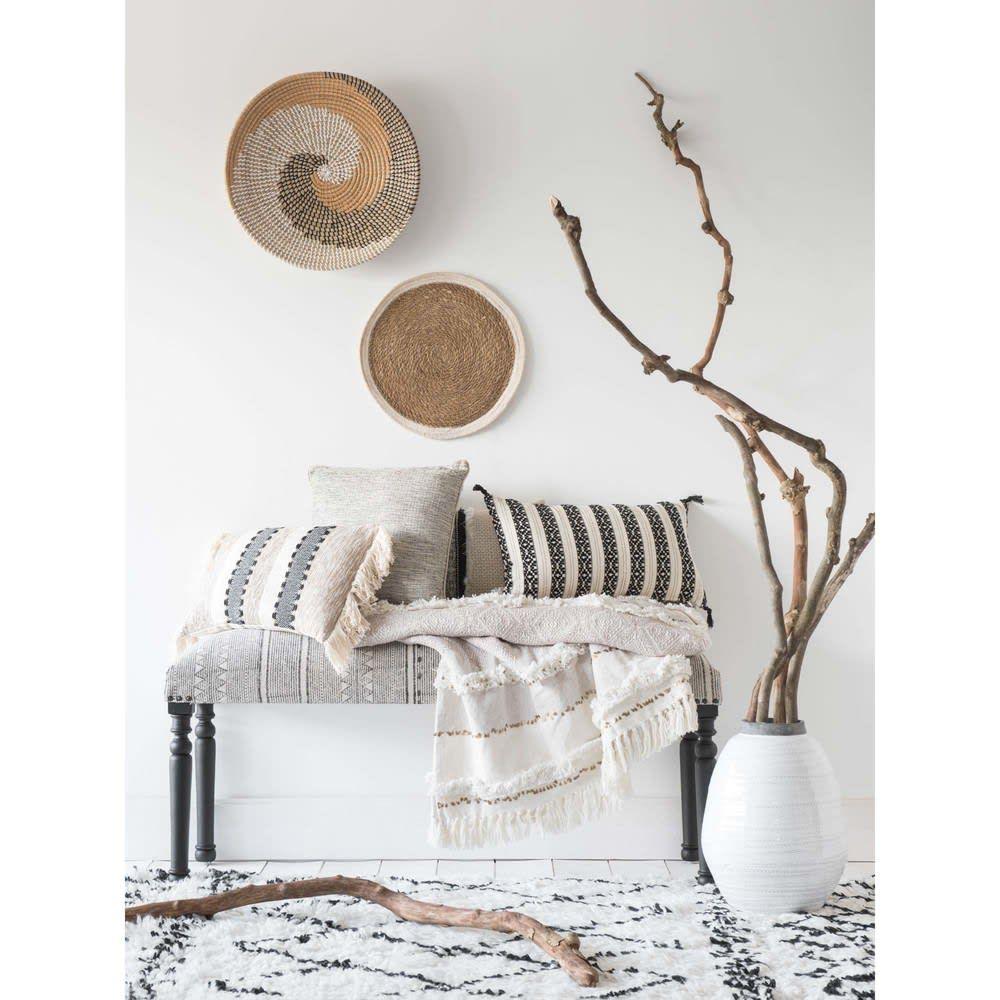 Tappeto berbero écru/nero in lana e cotone 140x200cm (con