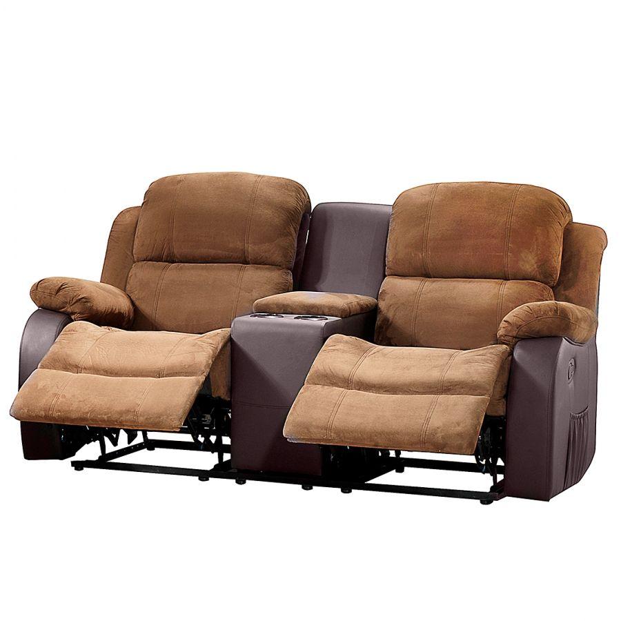 Sofa Norden 2 Sitzer M Relaxfunktion Tisch Microfaser Kunstleder
