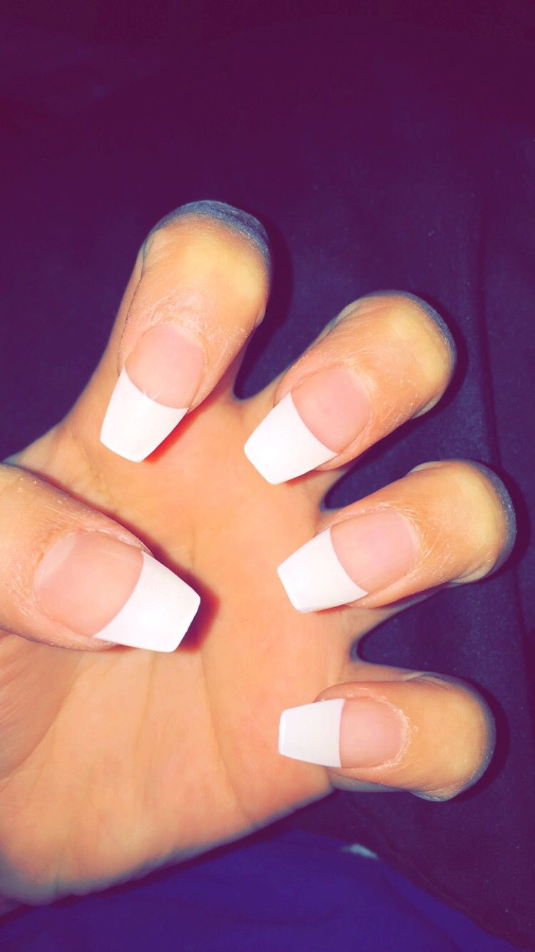 Coffin nails with french tip mynails gel mel whitetips fresh
