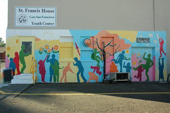 Silliouettes preschool garden mural pinterest school for Elementary school mural ideas