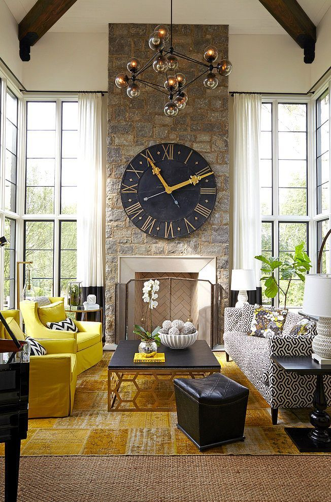 How To Decorate With Large Clocks And My Favourite Oversized Clocks Country Living Room Living Room Decor Yellow Living Room