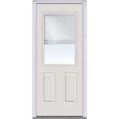 30 In X 80 In Internal Mini Blinds Clear Glass 1 2 Lite 2 Panel Primed White Fiberglass Smooth Prehung Front Mmi Door Steel Entry Doors Steel Doors Exterior