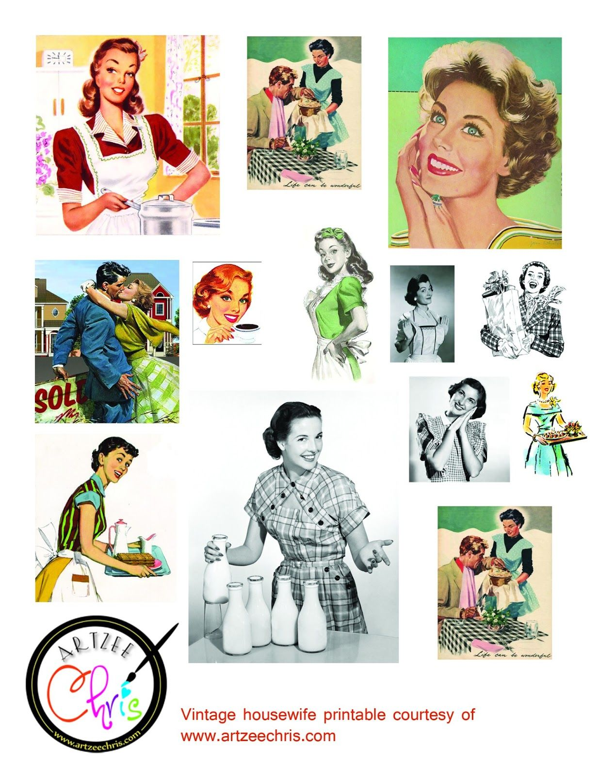 The Artzee Blog Free Retro Vintage 1950s Housewife Printable Vintage Housewife Retro Printables Retro Housewife