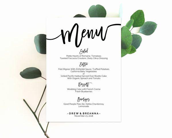 Free Wedding Menu Card Template Luxury Wedding Menu Template Menu Template Wedding Menu Cards Wedding Menu Printable Wedding Menu #weddingmenutemplate