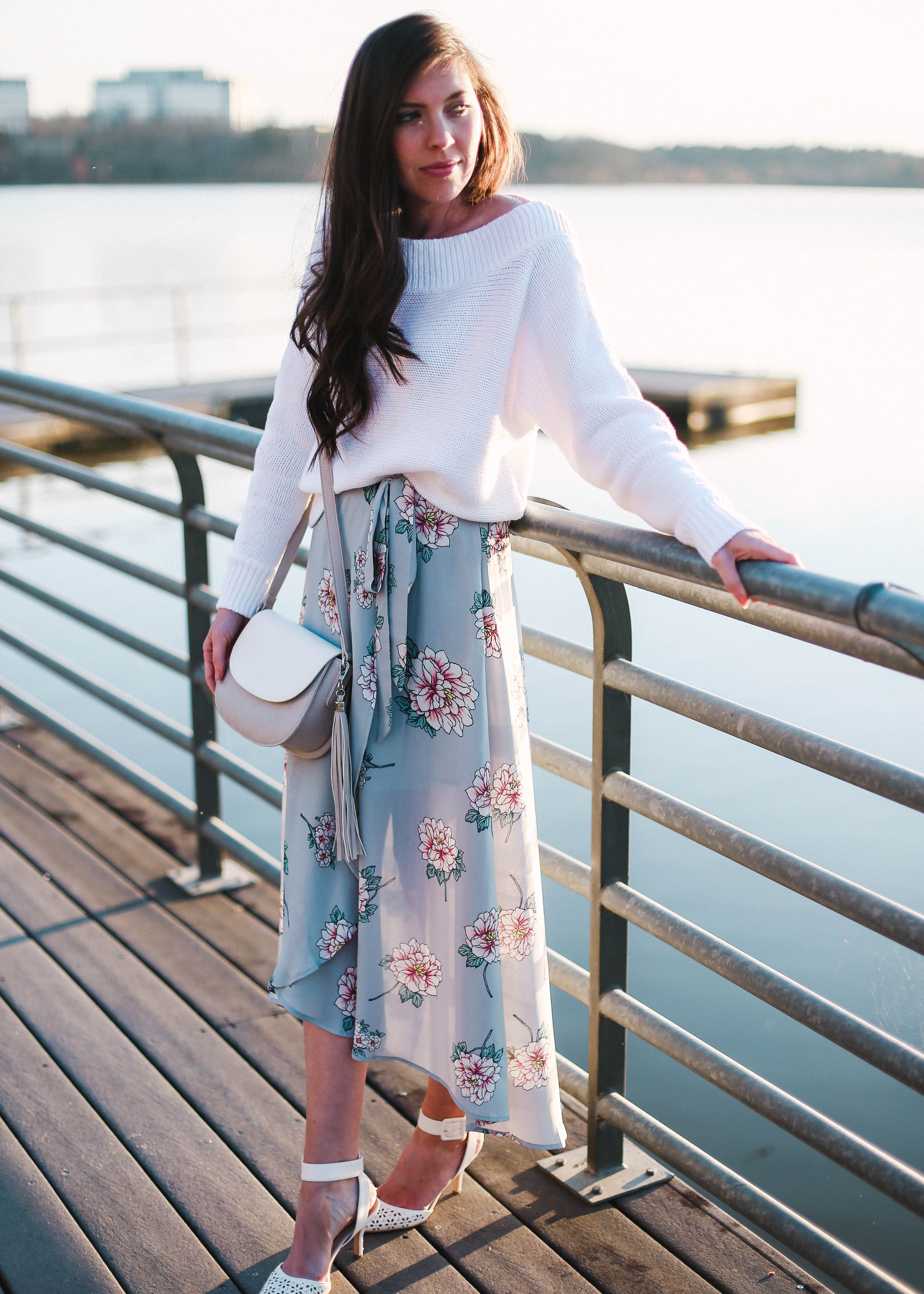 b3f7a6ec4b Nordstrom Floral Wrap Skirt, Sam Edelman Odynna White Pointy Toe Pumps  Ankle Strap Shoes, White Sweater GAP, Pretty in the Pines North Carolina  Style ...