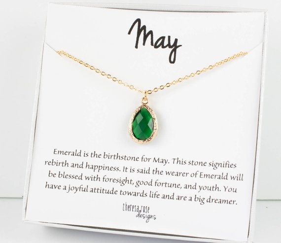 Gold Feather Necklace Silver Personalized Jewelry May Birthday Gifts for Women Emerald Birthstone Necklace Dainty Initial Necklace