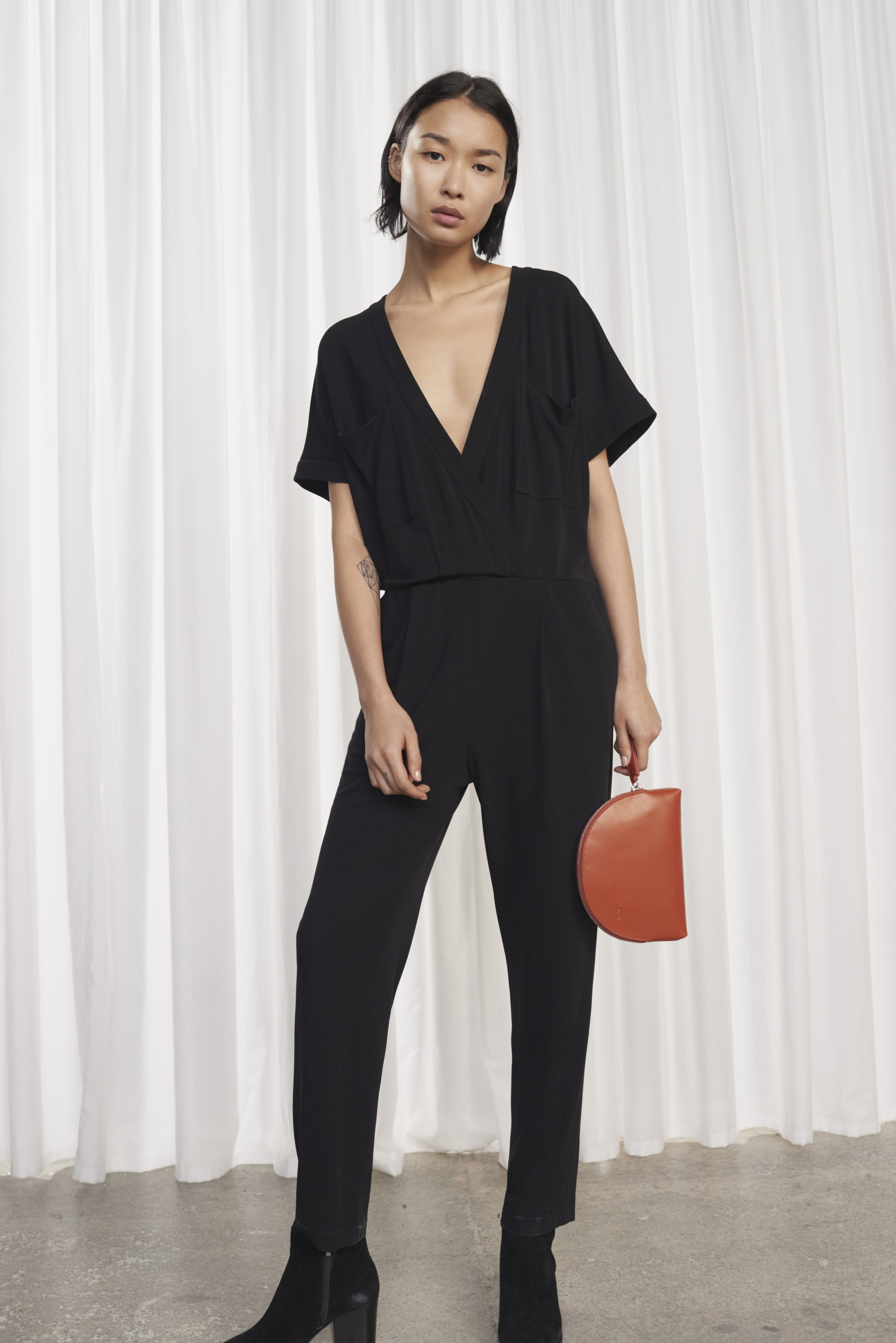430fef199d3b8b FRENCH CONNECTION ELSA DRAPED JERSEY JUMPSUIT. #frenchconnection #cloth #